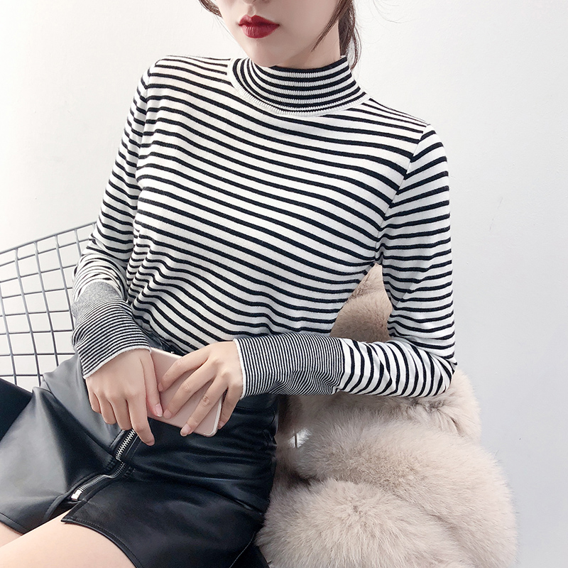 Half high neck sweater womens new autumn / winter 2020 long sleeve top thin striped bottomed shirt slim fit with knitwear