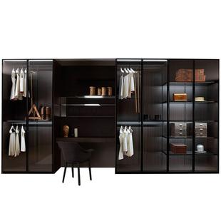 範洛定製衣櫃輕奢簡約鋼化玻璃門推拉移門開門整體大衣帽間定做