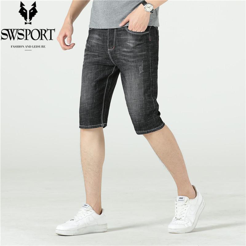 SWSPORT/奔狼牛仔短裤男直筒宽松夏季薄款休闲工装5分五分裤子男
