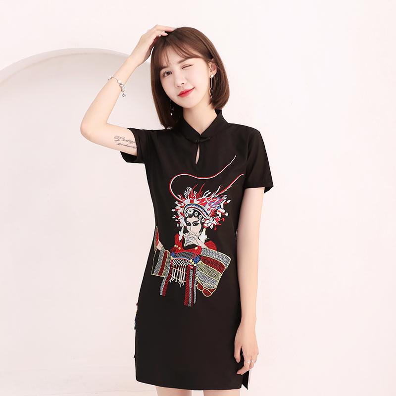 日常改良版小旗袍夏季女2018新款时尚短款现代显瘦少女礼服连衣裙