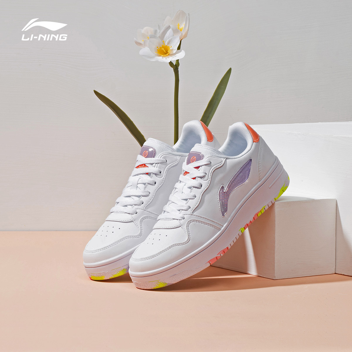 Li Ning casual shoes women's shoes casual shoes classic fashion white shoes low-top sneakers Li Ning flagship official website