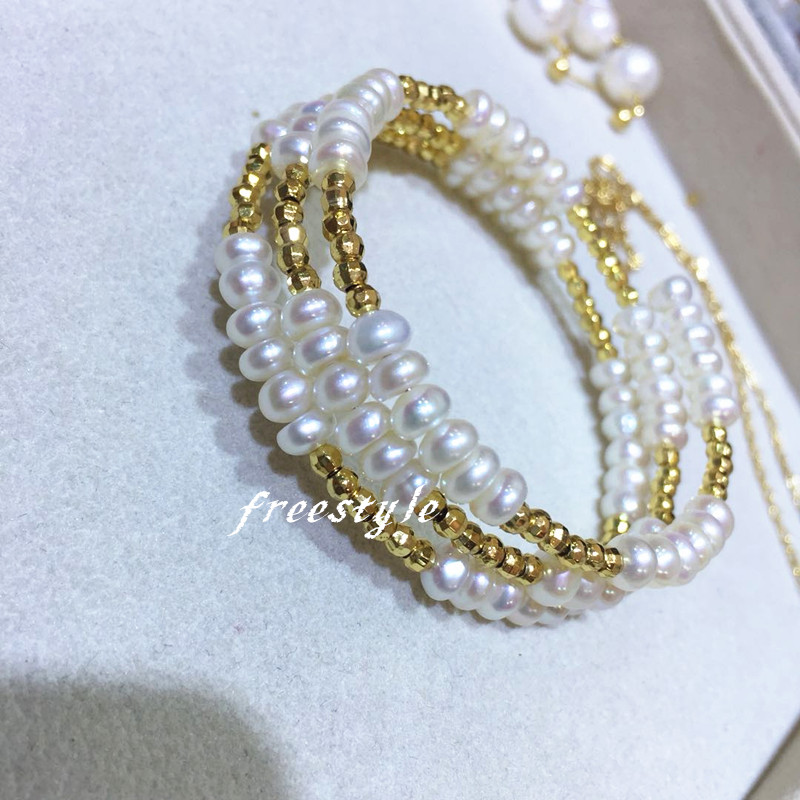 Freestyle Elastic Bracelet natural freshwater pearl Three Layer Elastic Bracelet 14K Gold injection