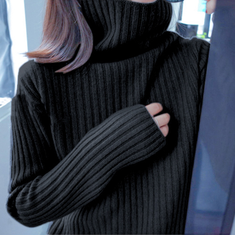 High collar sweater womens new bottoming shirt fall / winter 2019 loose wear fashion inside with thickened foreign style black lady