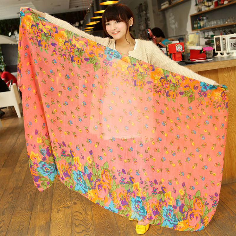 Cotton hemp scarf female flax literature autumn and winter versatile student lovely girl Korean version large shawl small flowers