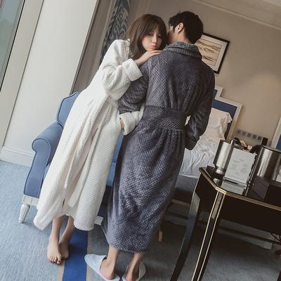睡袍女冬情侣保暖加厚浴袍珊瑚绒大码秋冬季男士中长款法兰绒睡衣