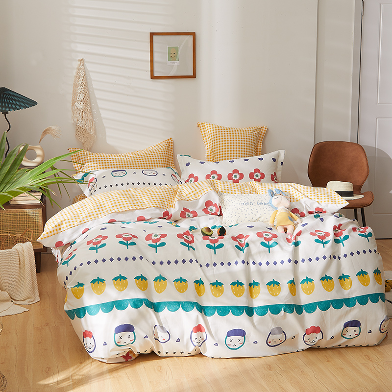 Four piece set of small fragrant American style 1.8m cotton single double bed sheet bedding