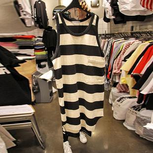 中长款 夏季 网红女装 黑白条纹T恤裙背心2020春装 连衣裙潮 韩版 新款