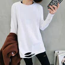 T恤女中长款 潮 上衣白色打底衫 新款 2019初秋装 春衣服下摆破洞长袖