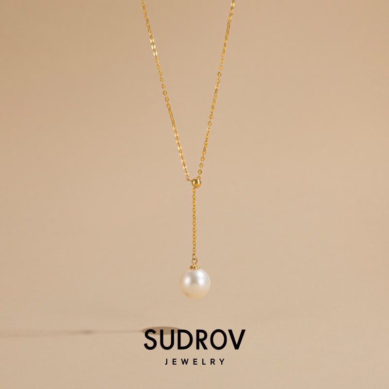 Sudrov18k golden Zhengyuan freshwater pearl pendant gold necklace womens simple temperament au750 clavicle chain