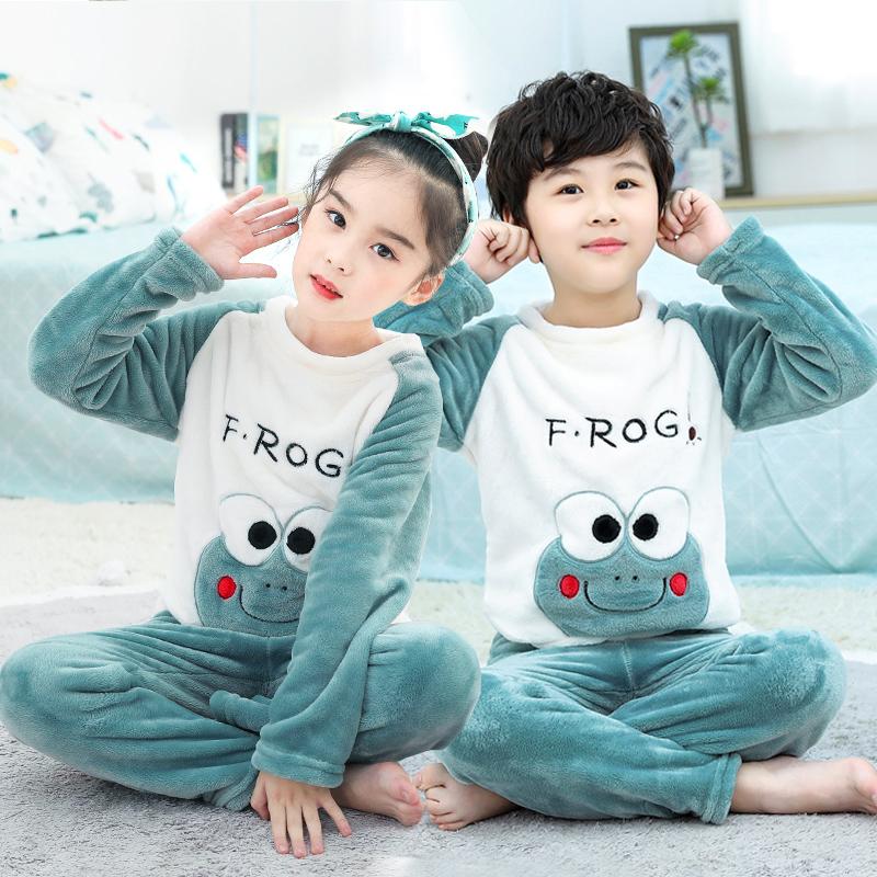 新款秋冬季儿童珊瑚绒睡衣男童女童宝宝家居服加厚男孩法兰绒套装