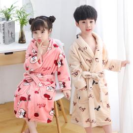 儿童睡袍男童女童珊瑚绒法兰绒男孩中大童冬加长款浴袍睡衣家居服