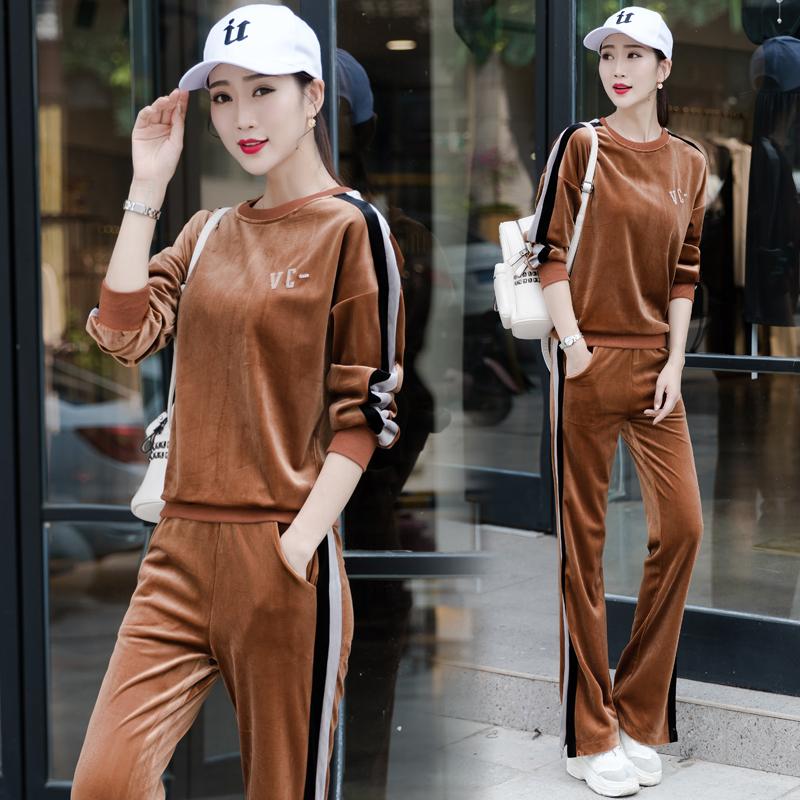 阔腿裤金丝绒休闲运动套装女秋季2018新款韩版时尚气质淑女两件套