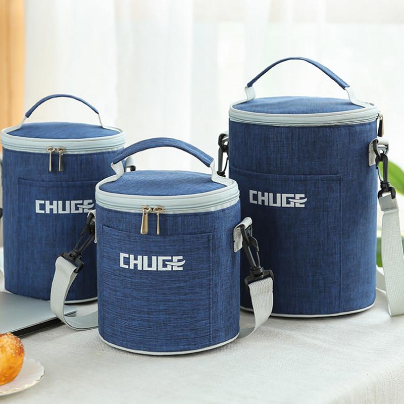 圆形保温饭盒袋子手提包便当包带饭手提袋饭包包大号保温袋饭盒包