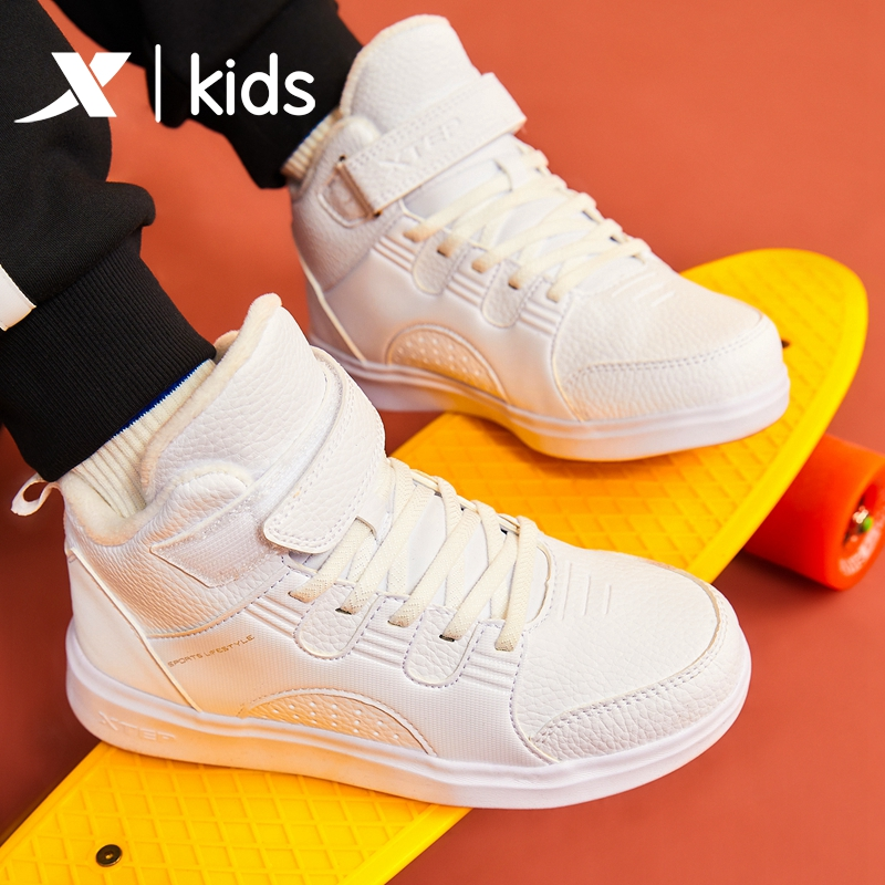 特步童鞋女童运动鞋2019新款冬季加绒加厚保暖二棉高帮儿童棉鞋