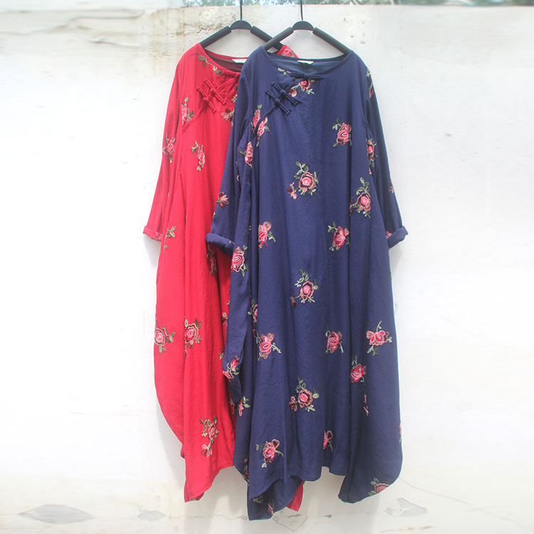 Original cotton and hemp national style super beautiful oblique placket embroidered Xianqi robe Zen national Chinese style dress