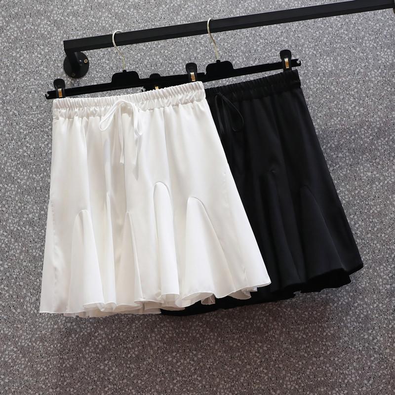 大碼松緊腰半身裙女夏季a字蓬蓬裙顯瘦短裙胖mm氣質遮胯裙褲百搭