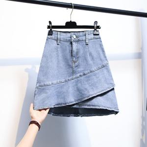 大碼牛仔半身裙高腰a字裙短裙女秋季2021新款韓版辣妹顯瘦包臀裙