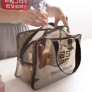 密封手提透明防水洗漱收纳品袋可挂大号塑料便携式牙刷外出牙具包