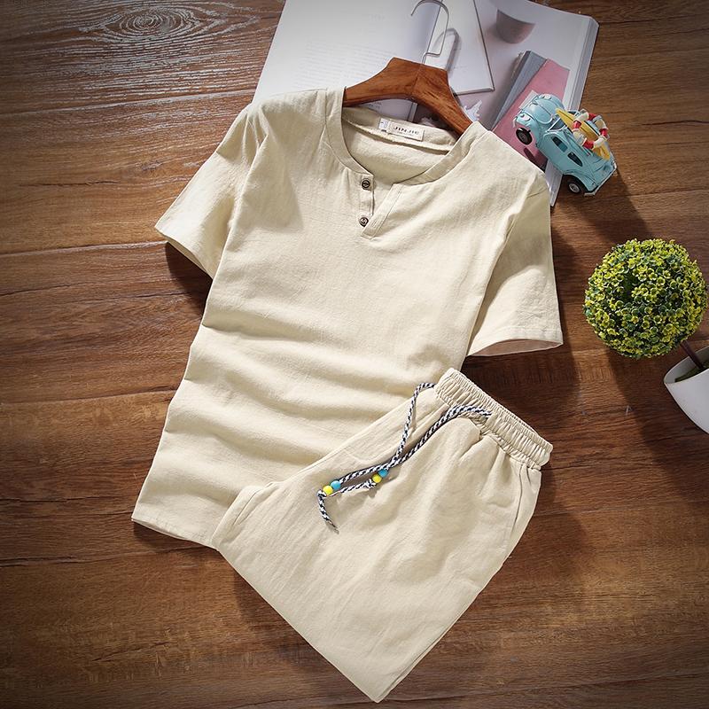 唐裝男亞麻套裝中國風男青年短袖睡衣睡褲中式居士服棉麻上衣漢服