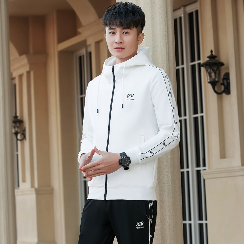 High grade genuine 2021 spring clothes new pure cotton young mens fashion cardigan hooded necked pants leisure sports