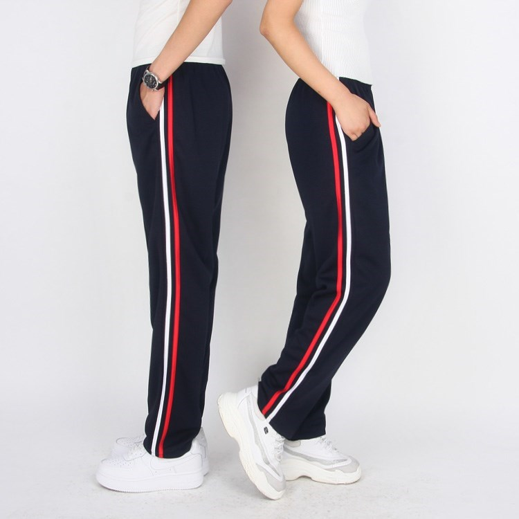 Postal spring and summer quick drying School Uniform Pants Navy black two bar mens and womens high school students sports pants straight tube