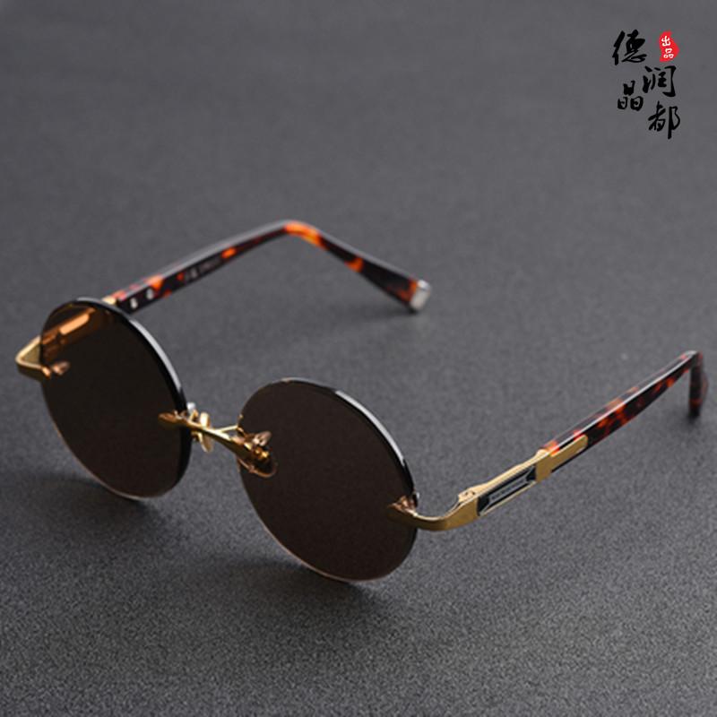 Frameless crystal high grade pure Sunglasses fatigue glasses mens genuine round eye care anti natural stone RETRO SUNGLASSES