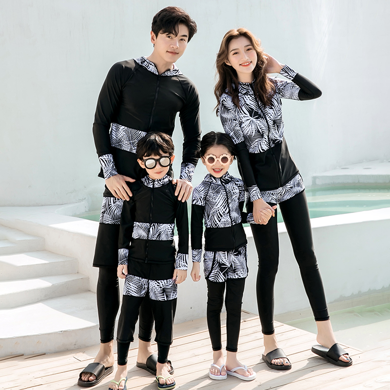 Diving suit female quick drying couple sports long sleeve snorkeling sunscreen suit mens trousers jellyfish parent-child swimming suit four piece set