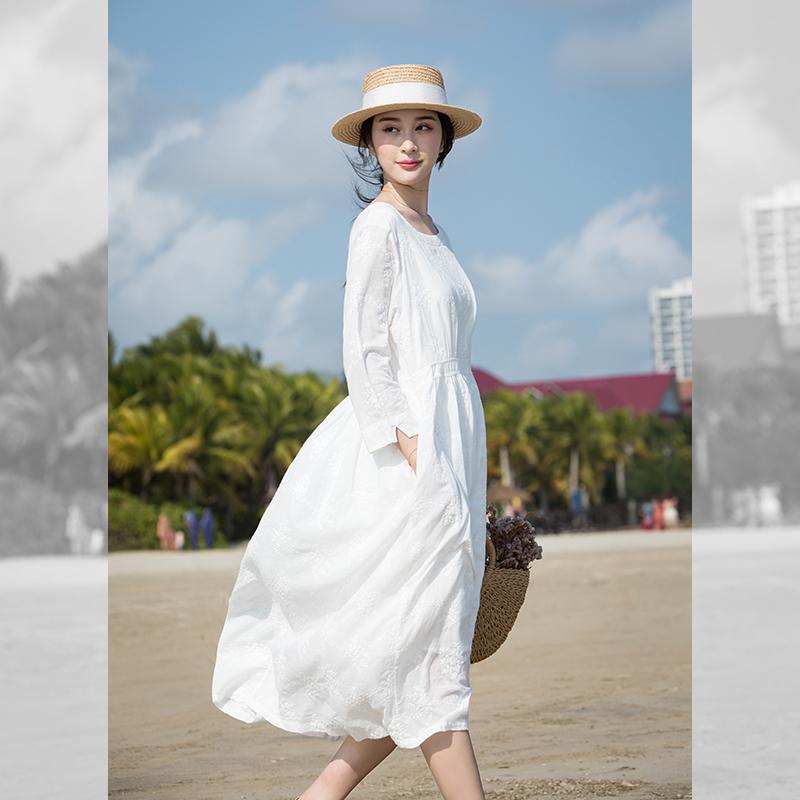 减龄连衣裙女白色纯棉长款小清晰裙子仙女超仙森系小个子长裙春