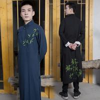 原创日常中国风传统棉麻刺绣汉服男民国休闲青年时代儒雅书生长衫