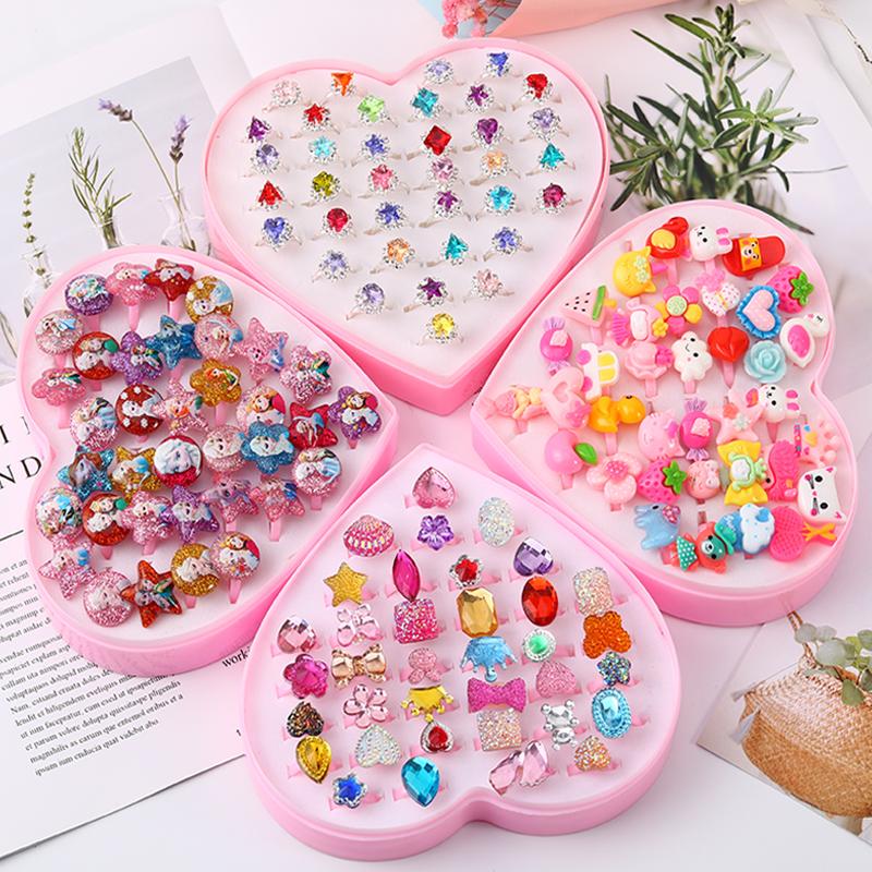 儿童宝石戒指女公主可爱卡通钻石首饰品女童宝宝水钻玩具小女孩