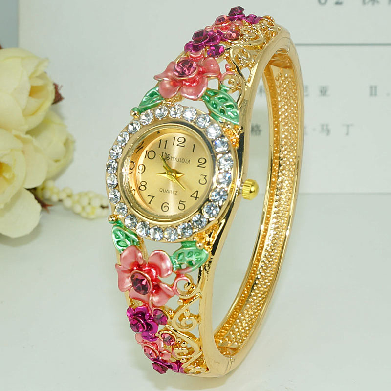 Cloisonne Bracelet Watch womens wide hollow fashion Korean crystal retro national style gold-plated watch