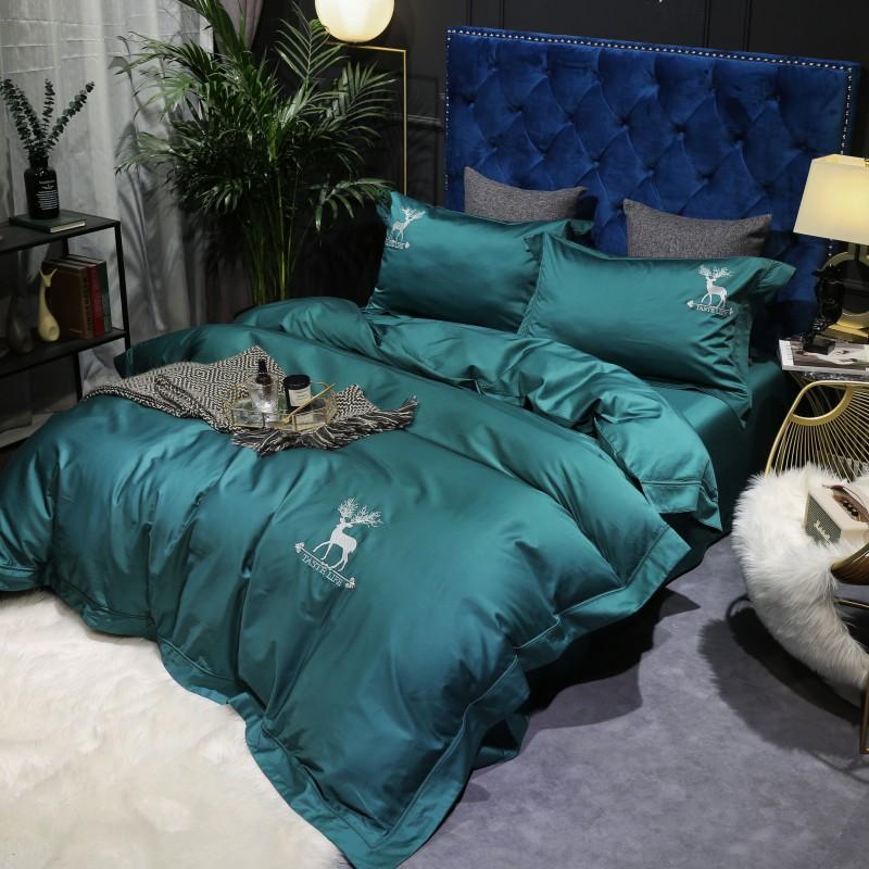 高档北欧纯棉120支贡缎长绒棉四件套1.8m纯棉欧式简约被套床单床