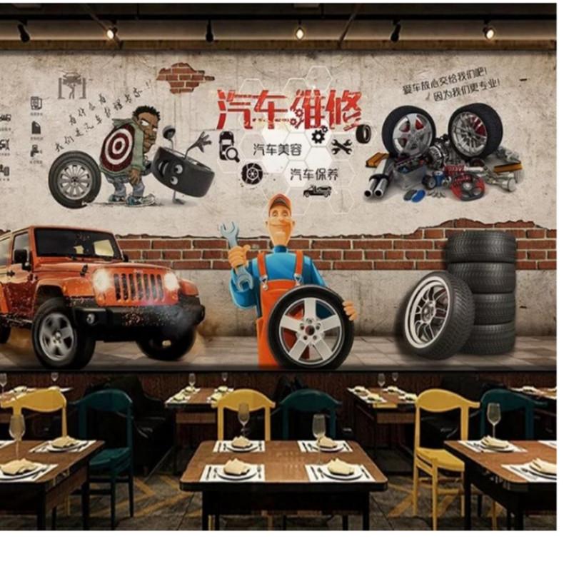 汽车维修保养美容壁画轮胎背景墙纸4s洗车修车行壁纸无缝整张墙布