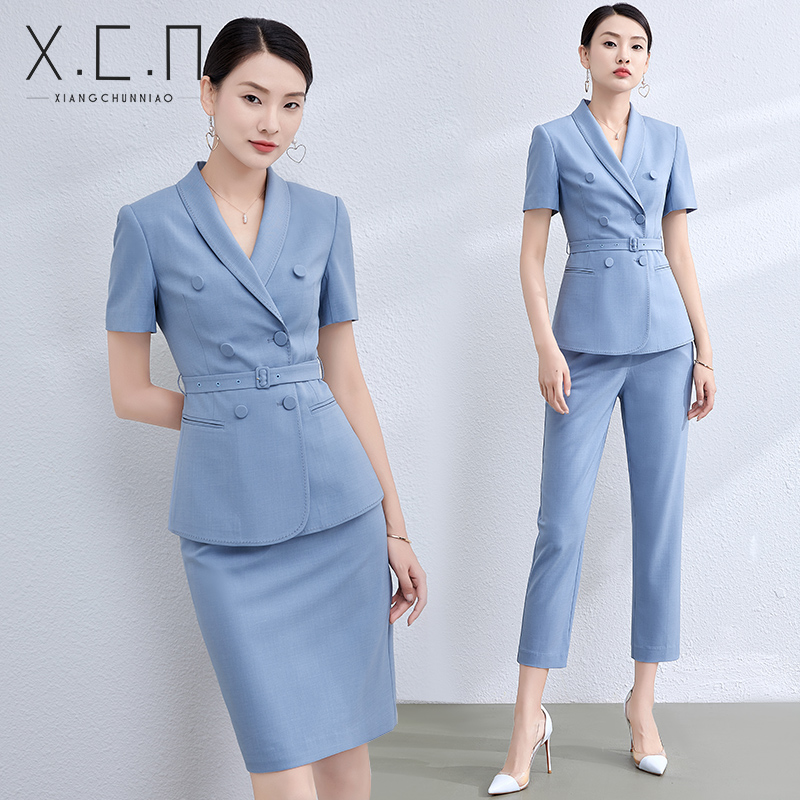 Xiangchun bird temperament suit female 2021 summer professional dress dress fashion goddess short-sleeved suit jacket