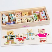 Hot Kids Cartoon Bear Change Clothes Wooden Puzzles Educatio