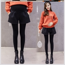 Pregnant women's shorts, winter fashion mother's versatile belly support pants, winter mid pregnancy, autumn and winter wear pregnant mother's wide leg pants