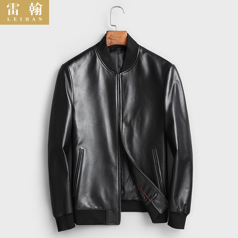 Spring new Haining leather leather men's baseball collar slim sheep leather jacket 2021 short thin jacket