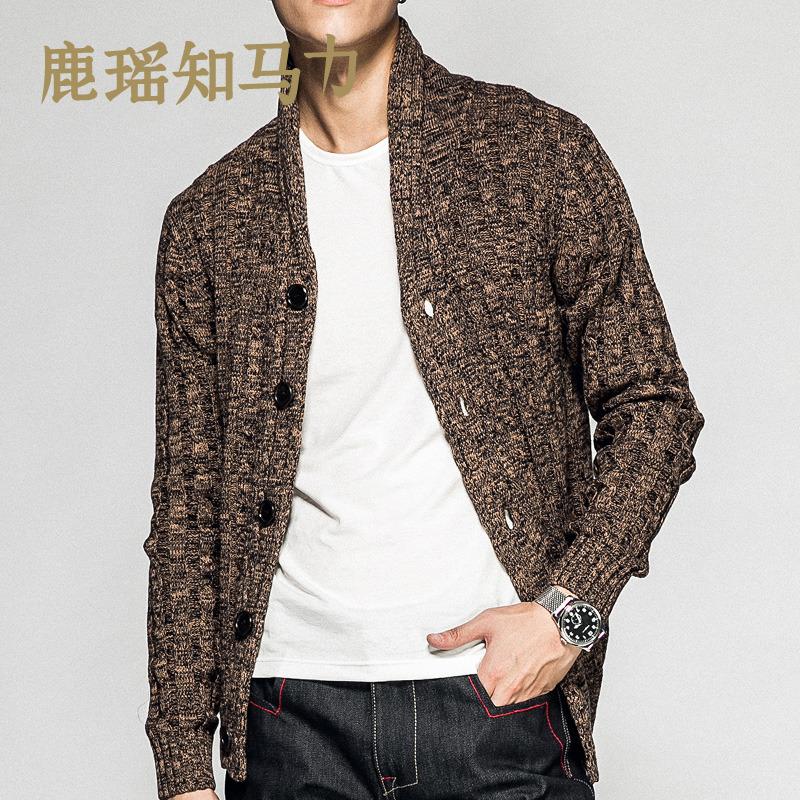 鹿瑶男士长袖针织衫秋冬外套毛衣针织开衫百搭韩版修身时尚衣男装