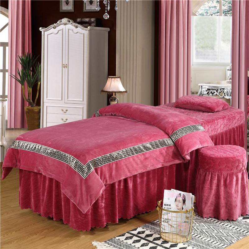 金色加厚珊瑚绒棉麻带洞床单院专用简约纯色美容床罩四件套水晶绒
