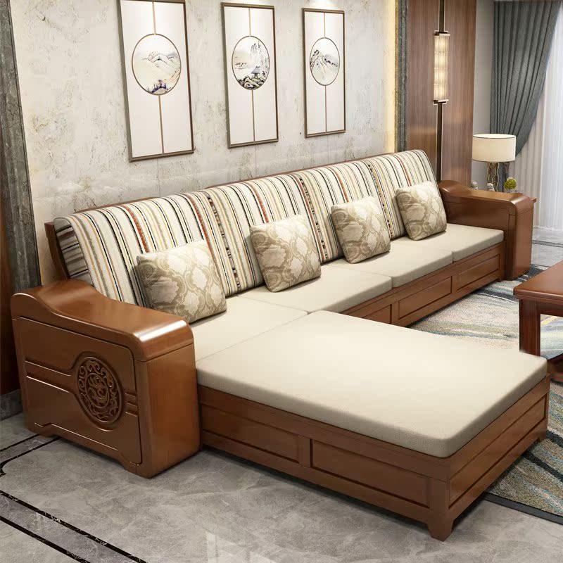 11-29新券全实木沙发组合冬夏两用客厅布艺转角贵妃新中式全木质储物沙发