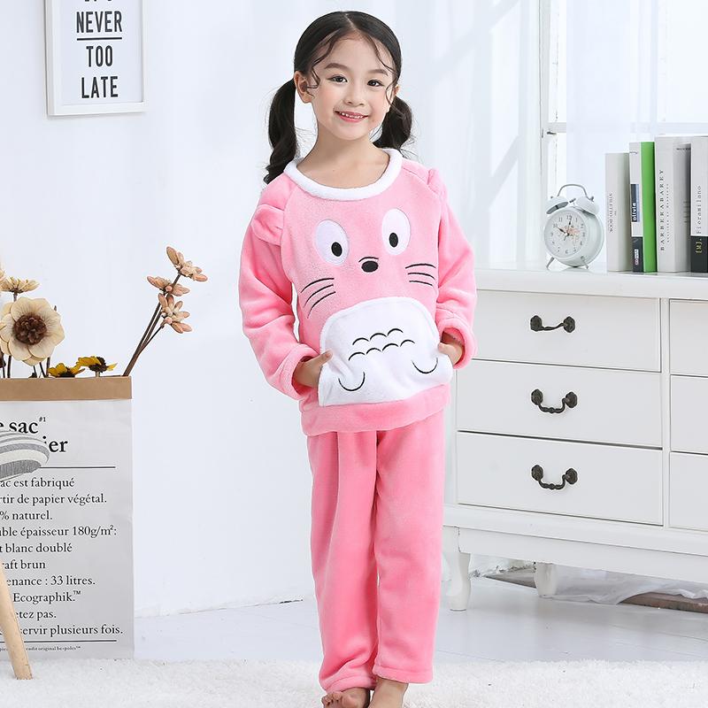 俏得美-法兰绒冬季男女童套装睡衣卡通家居服868-14#10-18码23元