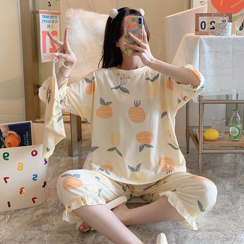 俏得美(100批)夏季牛奶丝七分裤七分袖睡衣女套装599#M-XXL码16元