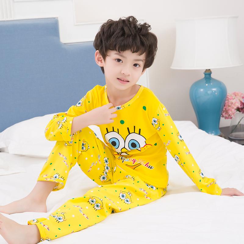 俏得美-春秋季卡通男女童装长袖睡衣套装牛奶丝838-12#8-16码12元