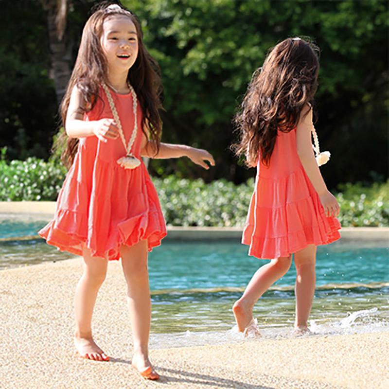 女童连衣裙2020夏装新品纯色露背吊带背心裙子儿童海边度假沙滩裙