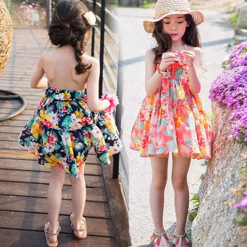 女童连衣裙夏装2020新款碎花裙子挂脖露背儿童纯棉海边度假沙滩裙