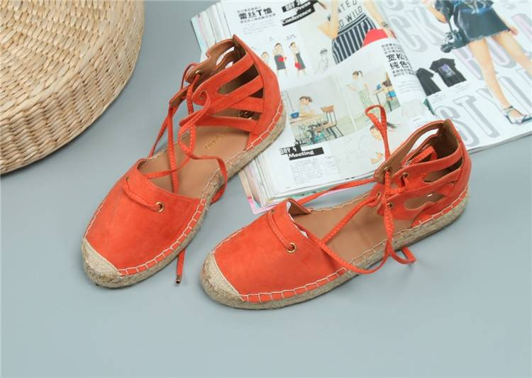 Parcel post flat shoes lace up womens summer hemp sole shoes ankle strap sandals womens single shoes straw woven fishermans shoes canvas