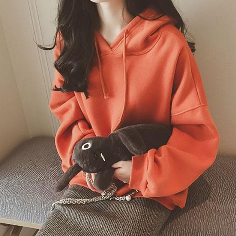 2018韩版新款bf学生连帽卫衣女加绒加厚上衣服宽松百搭外套秋冬潮