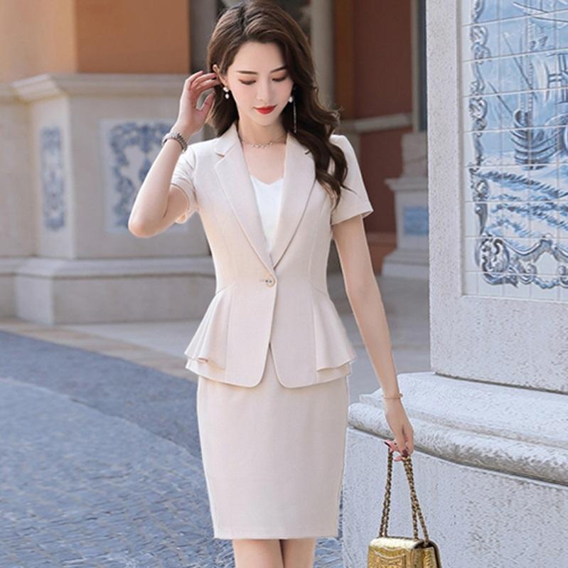 职业短袖西装三件套女网红气质杏色公司宾馆宴会白领工作成熟上班