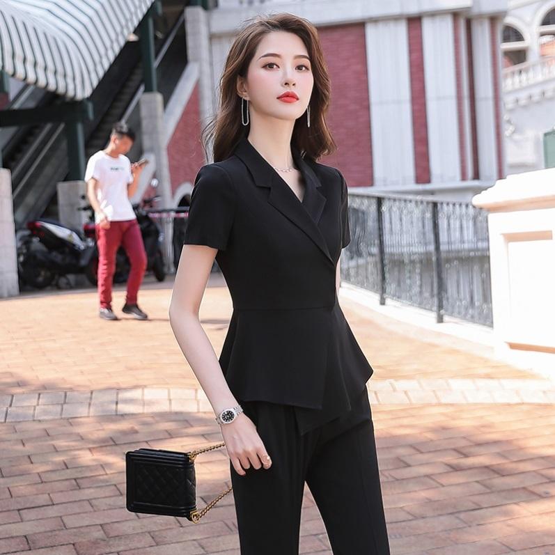 夏季短袖职业装套装套裙西装三件套女网红气质会所美容店工作服女