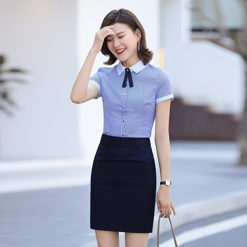 Lazy temperament postal tutor female stewardess shirt women wear versatile sweet waiters work clothes female catering